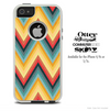 The Coral-Yellow-Blue Abstract Chevron Pattern Skin For The iPhone 4-4s or 5-5s Otterbox Commuter Case
