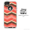 The Wide Coral Abstract Chevron Pattern Skin For The iPhone 4-4s or 5-5s Otterbox Commuter Case