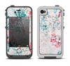 The Coral & Blue Grunge Watercolor Floral Apple iPhone 4-4s LifeProof Fre Case Skin Set