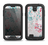 The Coral & Blue Grunge Watercolor Floral Samsung Galaxy S4 LifeProof Nuud Case Skin Set