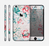 The Coral & Blue Grunge Watercolor Floral Skin for the Apple iPhone 6