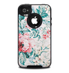 The Coral & Blue Grunge Watercolor Floral Skin for the iPhone 4-4s OtterBox Commuter Case