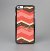 The Coral & Brown Wide Chevron Pattern Vintage V1 Skin-Sert Case for the Apple iPhone 6 Plus