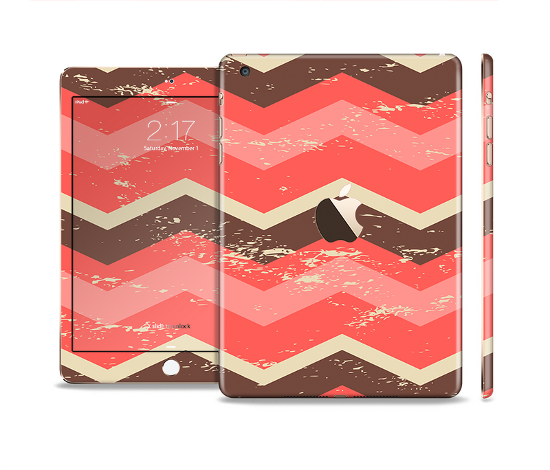 The Coral & Brown Wide Chevron Pattern Vintage V1 Full Body Skin Set for the Apple iPad Mini 3