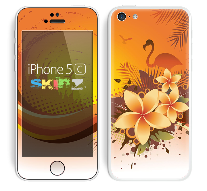 The Coral Colored Floral Pelical Skin for the Apple iPhone 5c
