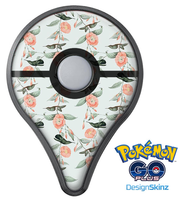 The Coral Flower and Hummingbird All Over Pattern Pokémon GO Plus Vinyl Protective Decal Skin Kit
