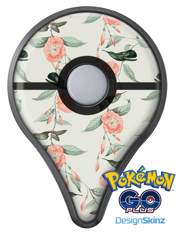 The Coral Flower and Hummingbird on Branches Pokémon GO Plus Vinyl Protective Decal Skin Kit