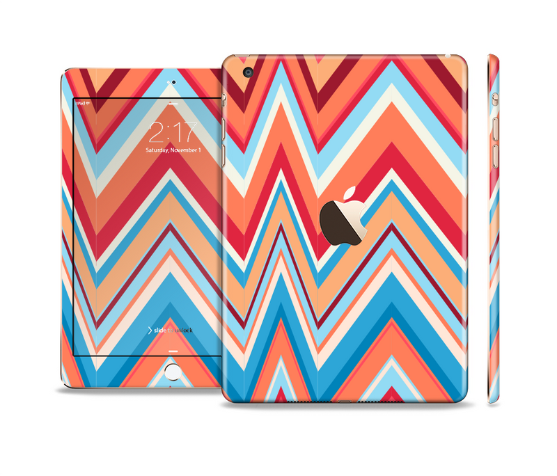 The Coral & Red Chevron Zig Zag Pattern V43 Full Body Skin Set for the Apple iPad Mini 3