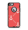 The Coral & White Vintage Solid Color Anchor Linked Apple iPhone 6 Otterbox Defender Case Skin Set