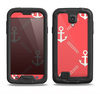 The Coral & White Vintage Solid Color Anchor Linked Samsung Galaxy S4 LifeProof Nuud Case Skin Set