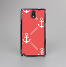 The Coral & White Vintage Solid Color Anchor Linked Skin-Sert Case for the Samsung Galaxy Note 3