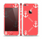 The Coral & White Vintage Solid Color Anchor Linked Skin Set for the Apple iPhone 5