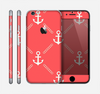 The Coral & White Vintage Solid Color Anchor Linked Skin for the Apple iPhone 6