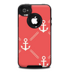 The Coral & White Vintage Solid Color Anchor Linked Skin for the iPhone 4-4s OtterBox Commuter Case