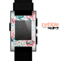 The Coral & Blue Grunge Watercolor Floral Skin for the Pebble SmartWatch