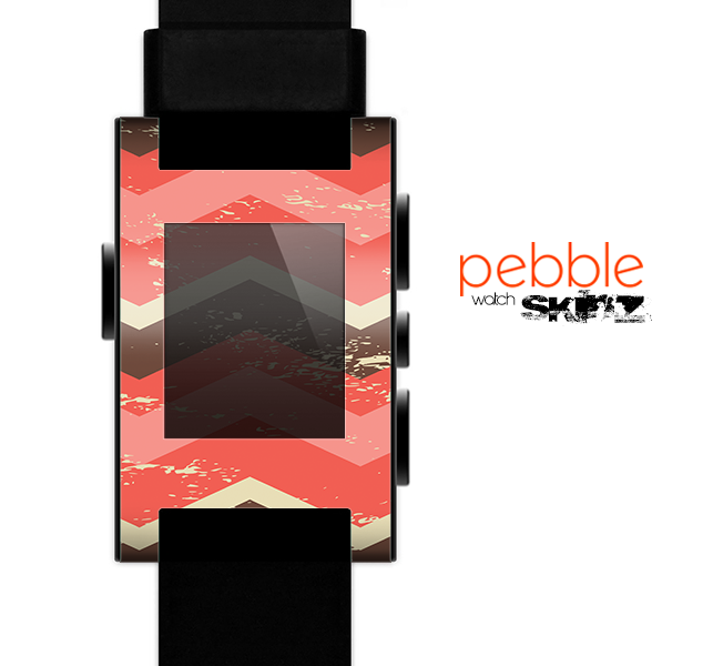The Coral & Brown Wide Chevron Pattern Vintage V1 Skin for the Pebble SmartWatch