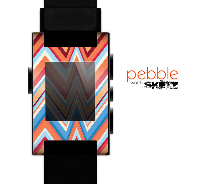 The Coral & Red Chevron Zig Zag Pattern V43 Skin for the Pebble SmartWatch