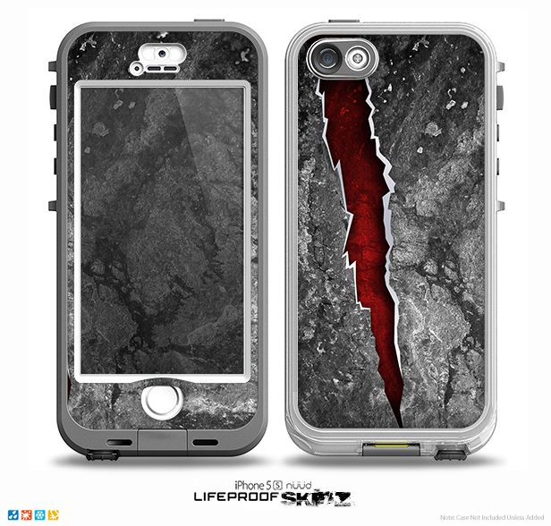 The Cracked Red Core Skin for the iPhone 5-5s NUUD LifeProof Case for the LifeProof Skin