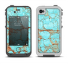 The Cracked Teal Stone Apple iPhone 4-4s LifeProof Fre Case Skin Set