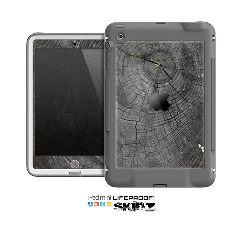 The Cracked Wood Stump Skin for the Apple iPad Mini LifeProof Case
