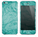 The Crumpled Aqua Green Paper Skin for the iPhone 3, 4-4s, 5-5s or 5c