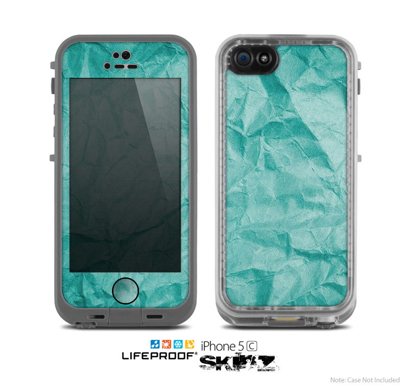 The Crumpled Trendy Green Texture Skin for the Apple iPhone 5c LifeProof Case