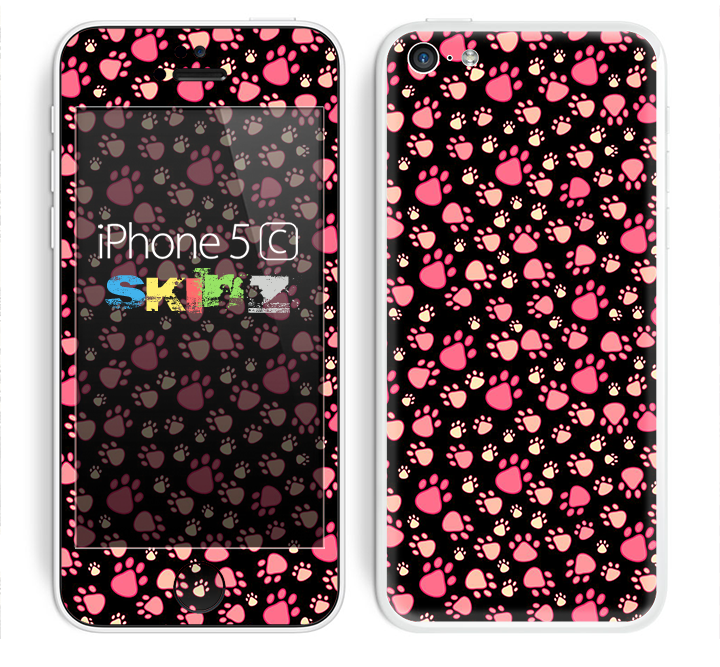 The Cute Pink Paw Prints Skin for the Apple iPhone 5c