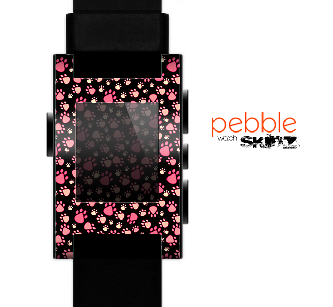 The Cut Pink Paw Prints Skin for the Pebble SmartWatch