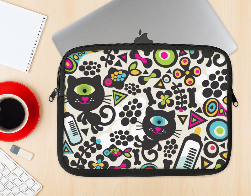 The Cute, Colorful One-Eyed Cats Pattern Ink-Fuzed NeoPrene MacBook Laptop Sleeve