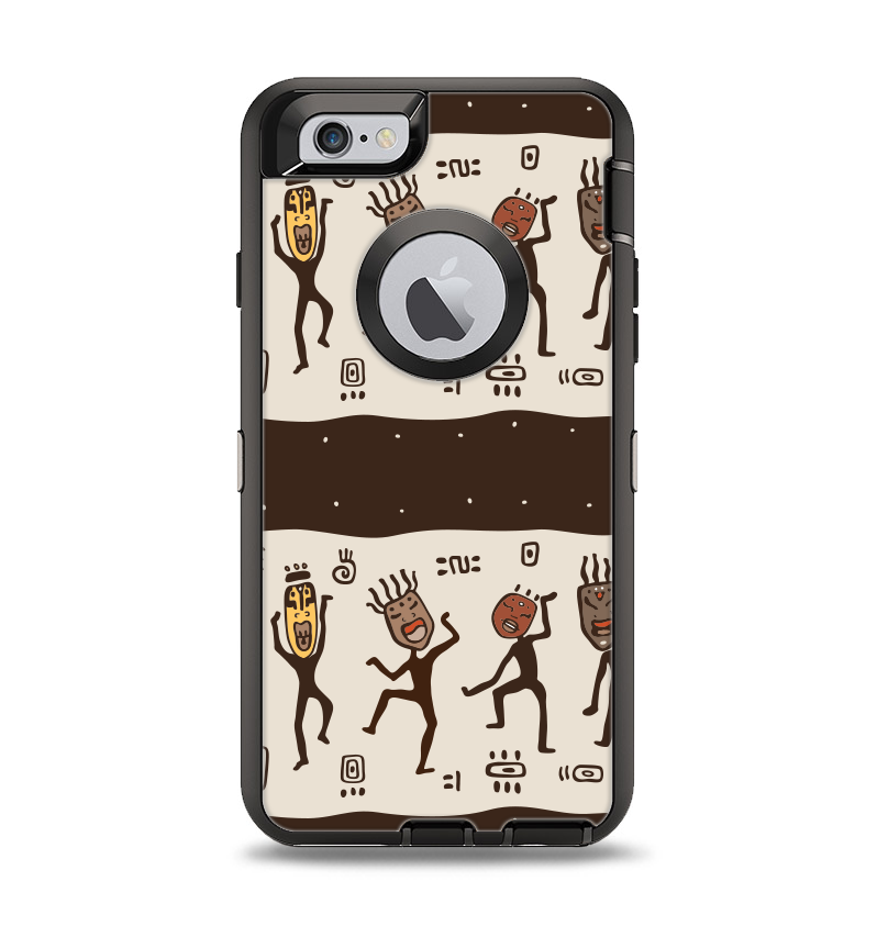 The Dancing Aztec Masked Cave-Men Apple iPhone 6 Otterbox Defender Case Skin Set
