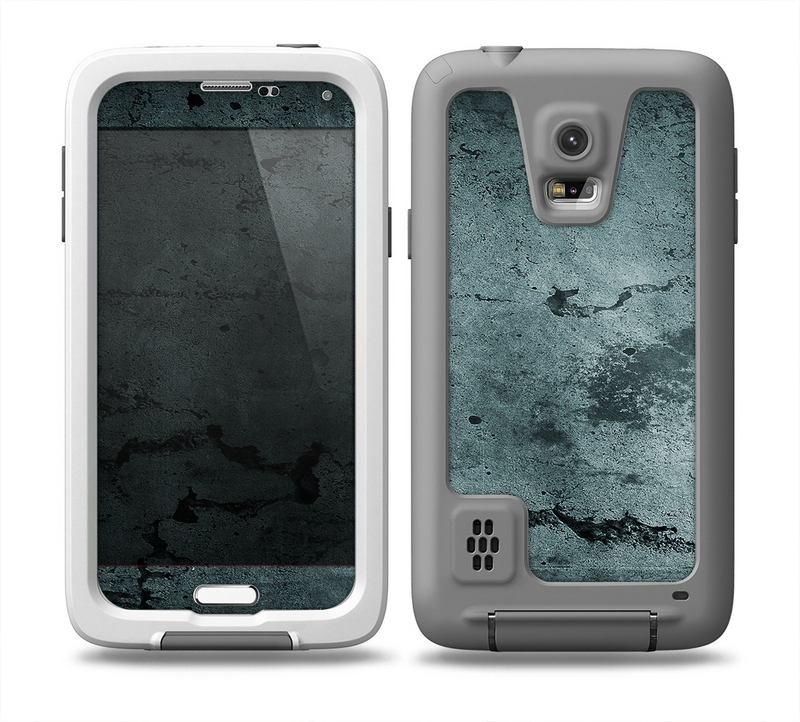The Dark Blue Cracked Texture Skin for the Samsung Galaxy S5 frē LifeProof Case