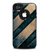 The Dark Blue & Highlighted Grunge Strips Skin for the iPhone 4-4s OtterBox Commuter Case