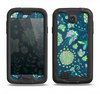 The Dark Blue & Pink-Yellow Sketched Lace Patterns v21 Samsung Galaxy S4 LifeProof Fre Case Skin Set