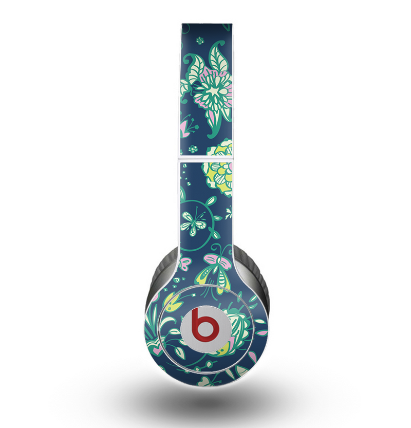 The Dark Blue & Pink-Yellow Sketched Lace Patterns v21 Skin for the Beats by Dre Original Solo-Solo HD Headphones