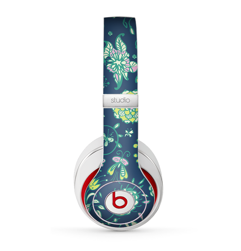 The Dark Blue & Pink-Yellow Sketched Lace Patterns v21 Skin for the Beats by Dre Studio (2013+ Version) Headphones