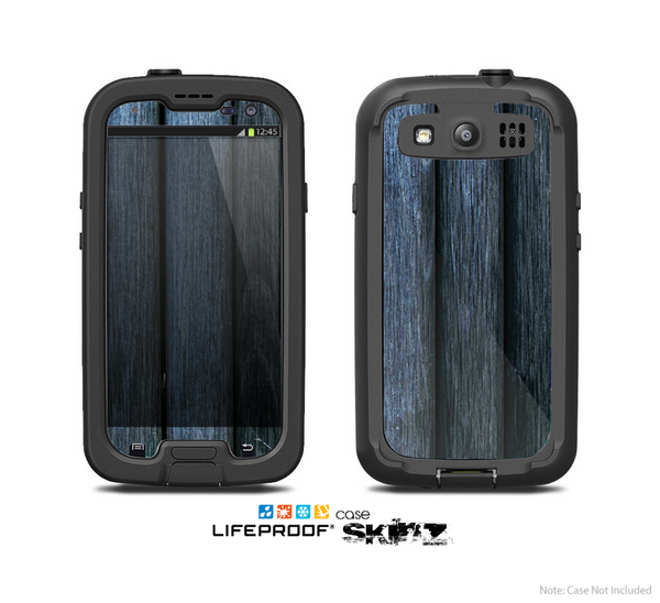 The Dark Blue Washed Wood Skin For The Samsung Galaxy S3 LifeProof Case