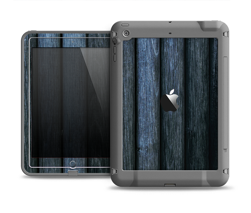The Dark Blue Washed Wood Apple iPad Air LifeProof Fre Case Skin Set