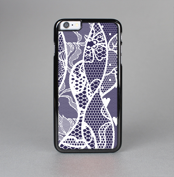 The Dark Blue & White Lace Design Skin-Sert Case for the Apple iPhone 6 Plus