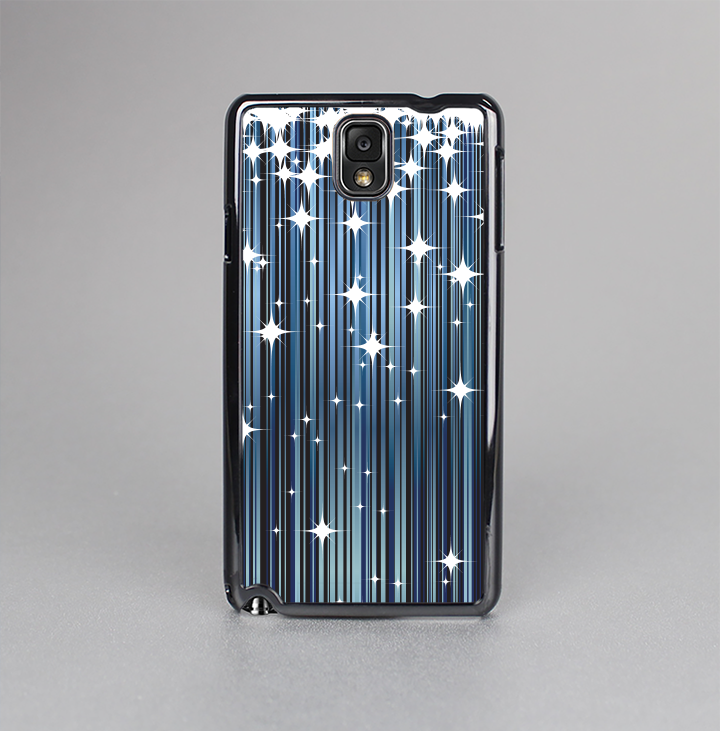 The Dark Blue & White Shimmer Strips Skin-Sert Case for the Samsung Galaxy Note 3