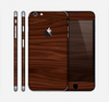 The Dark Brown Wood Grain Skin for the Apple iPhone 6 Plus