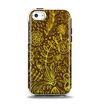 The Dark Brown and Gold Sketched Lace Patterns v21 Apple iPhone 5c Otterbox Symmetry Case Skin Set