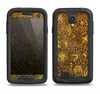 The Dark Brown and Gold Sketched Lace Patterns v21 Samsung Galaxy S4 LifeProof Fre Case Skin Set