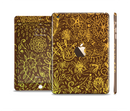 The Dark Brown and Gold Sketched Lace Patterns v21 Full Body Skin Set for the Apple iPad Mini 3