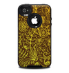 The Dark Brown and Gold Sketched Lace Patterns v21 Skin for the iPhone 4-4s OtterBox Commuter Case