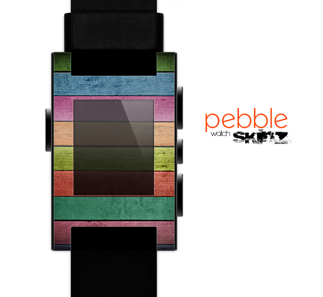 The Dark Colorful Wood Planks V2 Skin for the Pebble SmartWatch