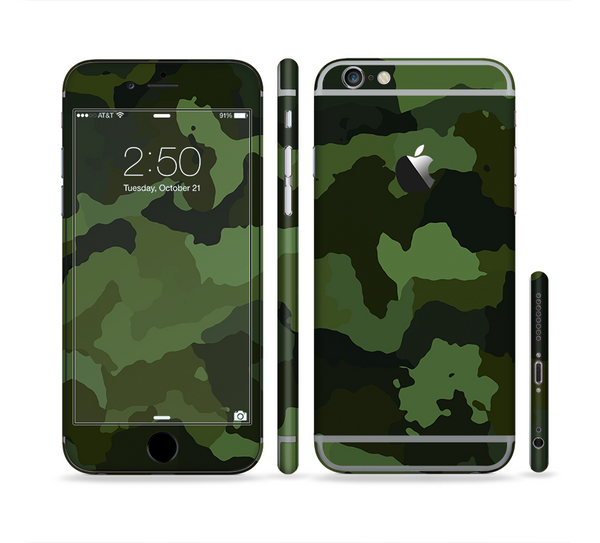 The Dark Green Camouflage Textile Sectioned Skin Series for the Apple iPhone 6 Plus