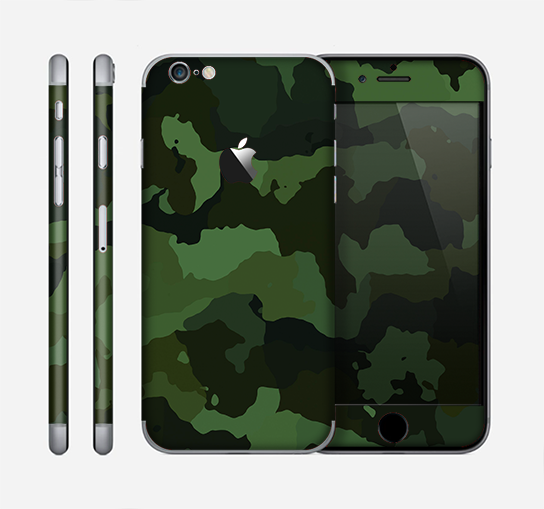 The Dark Green Camouflage Textile Skin for the Apple iPhone 6