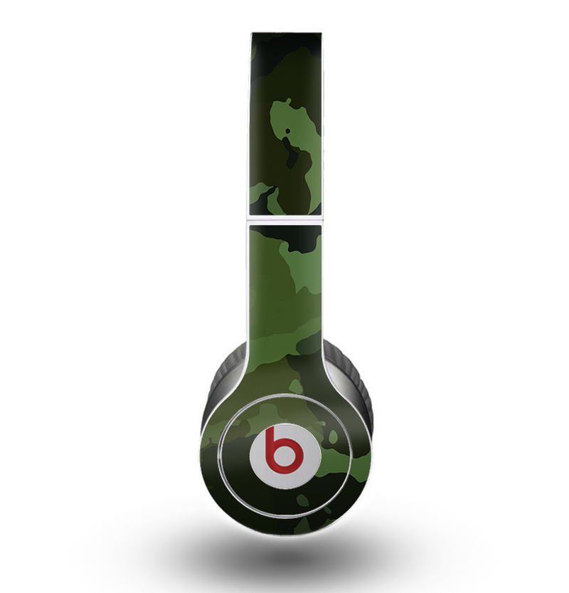 The Dark Green Camouflage Textile Skin for the Beats by Dre Original Solo-Solo HD Headphones