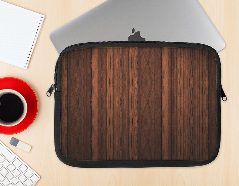 The Dark Heavy WoodGrain Ink-Fuzed NeoPrene MacBook Laptop Sleeve
