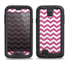 The Dark Pink & White Chevron Pattern V2 Samsung Galaxy S4 LifeProof Nuud Case Skin Set